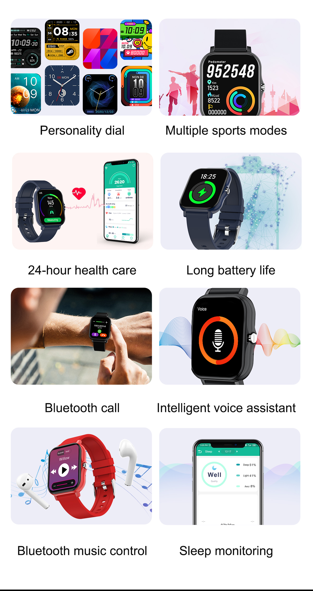 chamada bluetooth telefone inteligente 1.69-in pulseira ip68