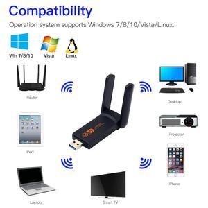 Image 2 - Dual Band 1900M USB3.0 Wifi 1200Mbps AC600 USB 802.11ac wifi Adapter for PC Laptop Wireless Network Wlan Desktop 2.4G 5G Antenna