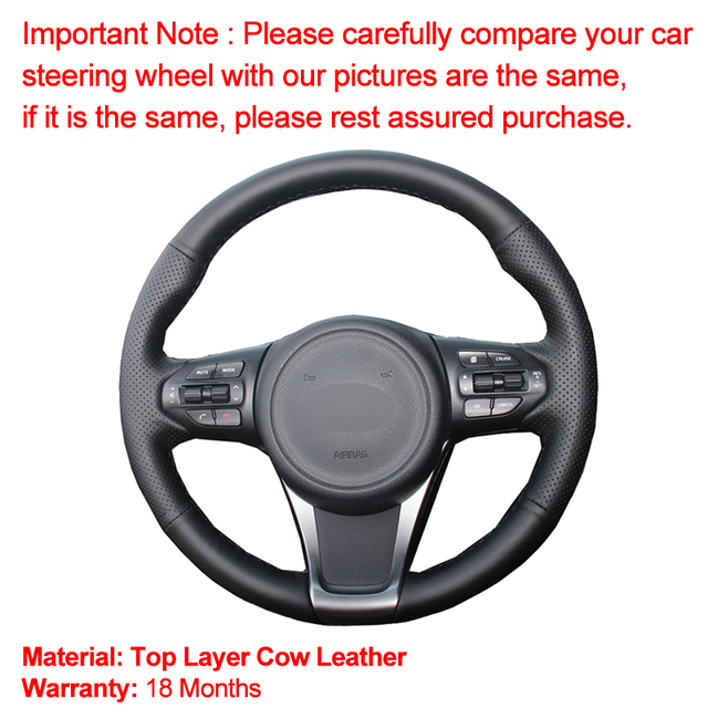 Hand Sewing Car Steering Wheel Cover Top Cow Leather For Kia Sorento 2015 2016 2017 2018 Sedona 2015 2016 2017 2018 2019 Volant