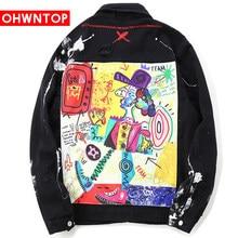 OHWNTOP Hip Hop Graffiti Cartoon Ripped Denim Jackets Mens Casual Distressed Jeans Jacket Coat Streetwear Fashion Male Tops 2021