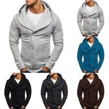 WENYUJH2019 Hoodies Men Autumn Diagonal Zipper Size Plus 3Xl Slim Fitness Hooded Black Sweatshirts Warm Coat Tops