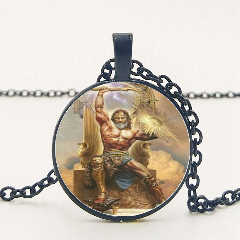 2019 New Greek Mythology Retro Wind Raytheon Zeus Pendant Necklace Round Convex Glass Necklace Necklace in Pendant Necklaces from Jewelry Accessories
