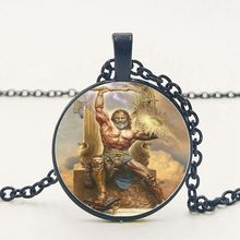 2019 New Greek Mythology Retro Wind Raytheon Zeus Pendant Necklace Round Convex Glass