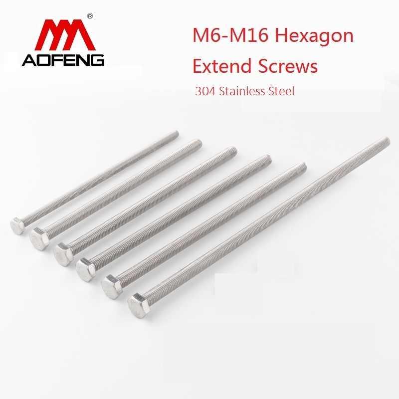 ภายนอกหกเหลี่ยมขยายสกรู 304 สแตนเลสด้านนอกแบนหกเหลี่ยมหัว Bolt สำหรับเครื่อง M6 M8 M10 M12 M16 200 มม.180 มม.