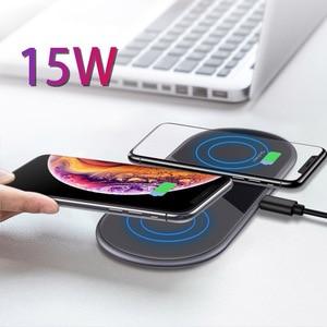 Image 5 - 15W Qi inalámbrica Dual de carga Estación de muelle para Huawei P30 Pro amigo RS Samsung Nota 10 Plus S9 Iphone 11 Pro Max XR cargador rápido