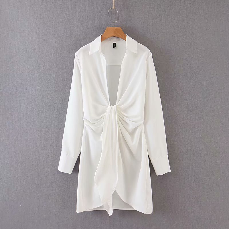 Special interest design mini dress summer long sleeves women irregularity pleated vocation style sexy white shirtdress 5