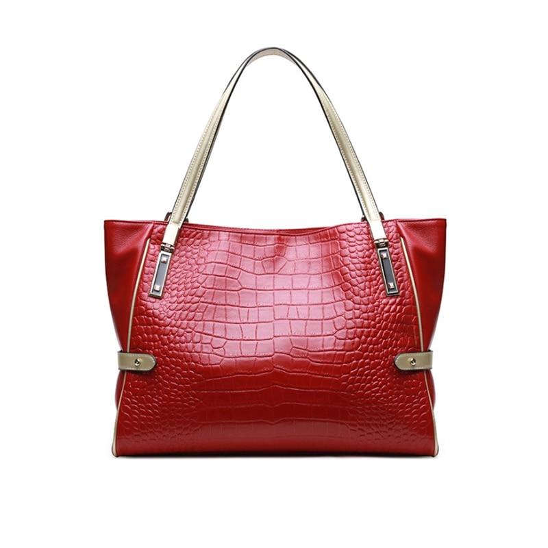 ของแท้หนังผู้หญิงกระเป๋าจระเข้ผู้หญิงกระเป๋าถือหนังธรรมชาติคุณภาพสูงไหล่กระเป๋าหญิง Casual Tote-ใน กระเป๋าสะพายไหล่ จาก สัมภาระและกระเป๋า บน   1