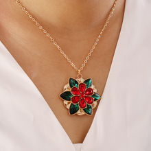 Fashion Trend Multilayer Crystal Flower Necklace Retro Colorful Accessories Women's Party Jewelry Accessories