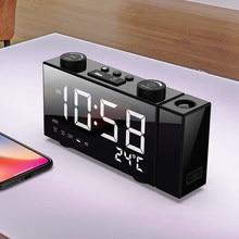 6 inç taşınabilir dijital FM projeksiyon radyo çalar saat 4 parlaklık ayarı USB güçler tedarik LED termometre saat