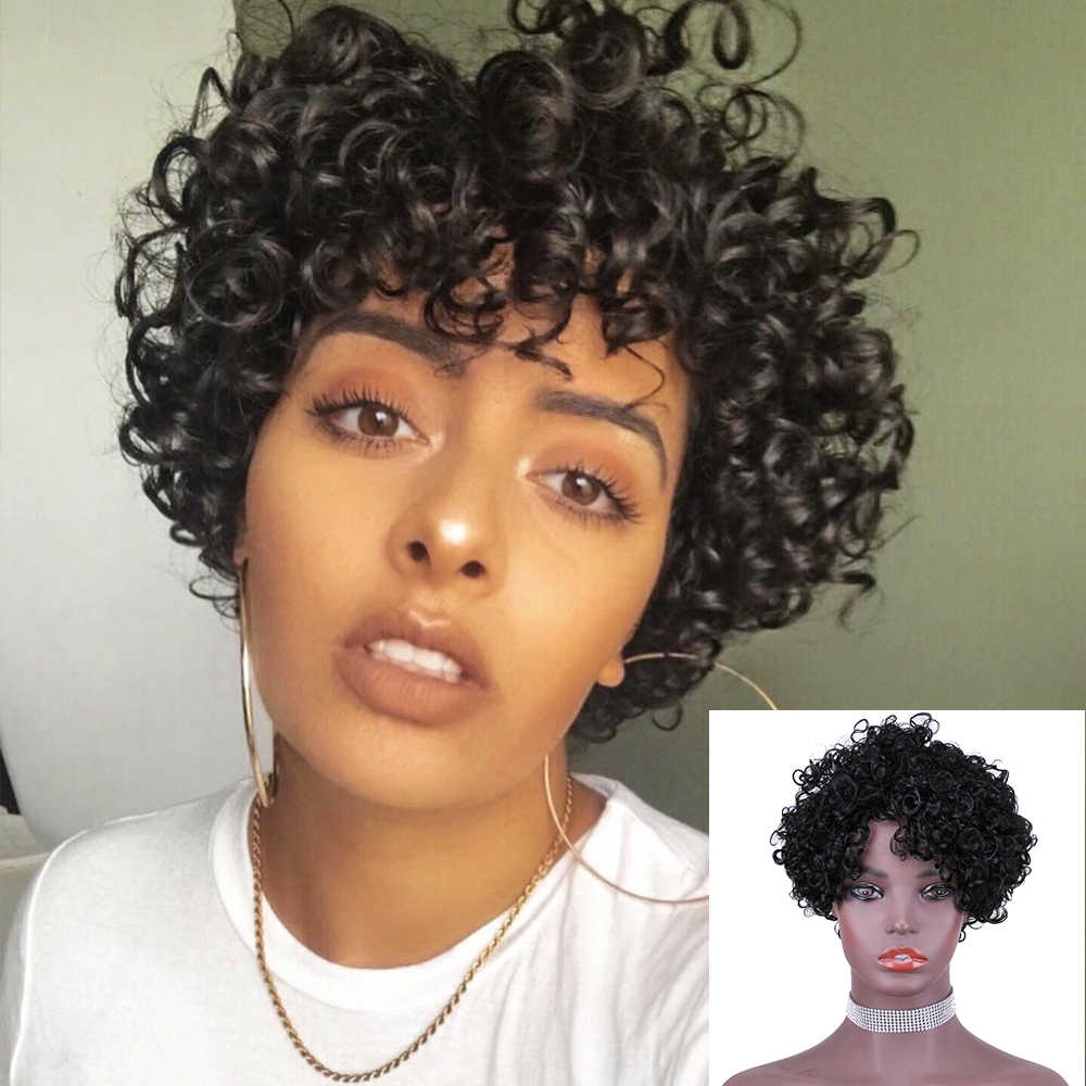 Human Hair Wigs Short Wigs For Black Women Afro Spiral Curly Remy Ombre Human Hair Wig Brazilian Machine Made 4# Red Colored Wig
