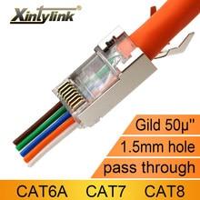 Xintylink cat8 cat7 cat6a rj45 conector 50u cat 7 ethernet cabo plug cat.6a rede sftp blindado lan jack passagem através do furo
