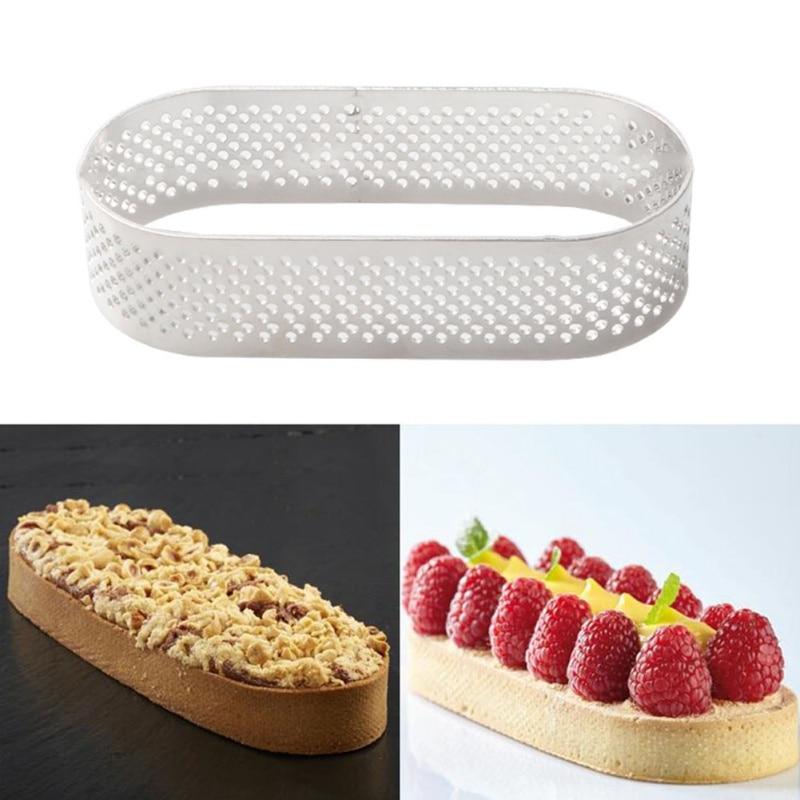 Овальный Круглый мусс из нержавеющей стали, кольцо для выпечки торта, набор инструментов, размер, форма, регулируемая посуда для выпечки, серебро, французский стиль, кольцо для торта