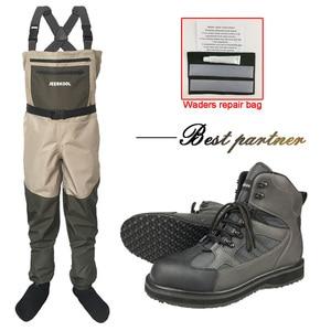 Image 1 - Трехслойные водонепроницаемые рыболовные сапоги, Нескользящие быстросохнущие сапоги, охотничьи резиновые сапоги, зимние неопреновые брюки, нагрудная одежда