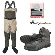 3層防水釣りウェーダーアンチスキッド速乾性ワタリの靴狩猟ゴムブーツ冬ネオプレンパンツ胸服