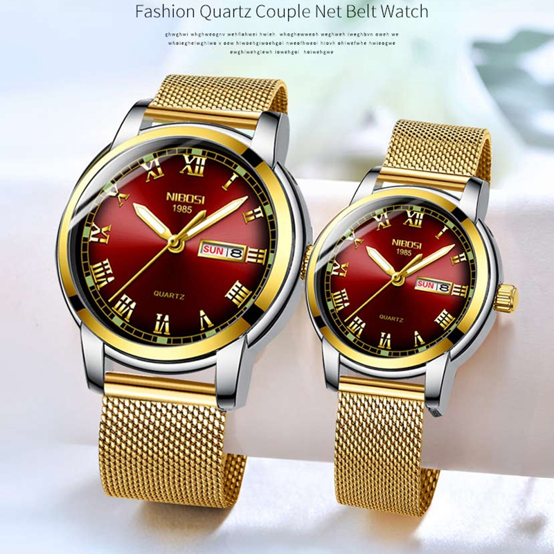 NIBOSI Couple Watch Luxury Gold Waterproof Luminous Quartz Wristwatch Couple Gift Lovers Watch Men Reloj Mujer Relogio Feminino