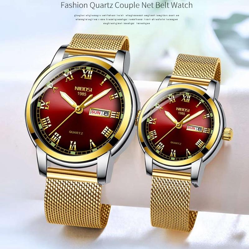 NIBOSI Couple Watch Luxury Gold Waterproof Luminous Quartz Wristwatch Couple Gift Lovers Watch Men Reloj Mujer Relogio Feminino