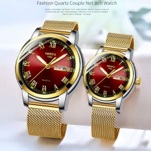 NIBOSI Couple Watch Luxury Gold Waterproof Luminous Quartz Wristwatch Couple Gif