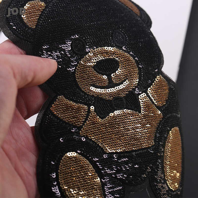 Emas Hitam Beruang Lucu Bordir Patch Besar Besi Di Payet Patch Bordiran untuk Pakaian Lencana Kain Stiker Di Pakaian Jaket