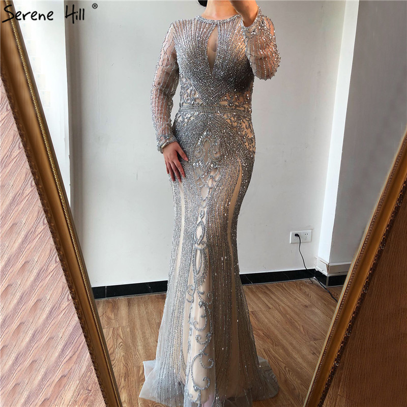 Дубай темно-синий цвет без рукавов элитное вечернее платье с круглым вырезом Diamond сексуальное вечернее платье Serene Hill LA60742 - Цвет: grey long sleeve