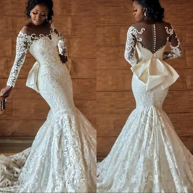 African Pearl Lace Embroidered Wedding Dress 2019 Christian Red Long Sleeve Mermaid Wedding Gowns Vestido De Noiva