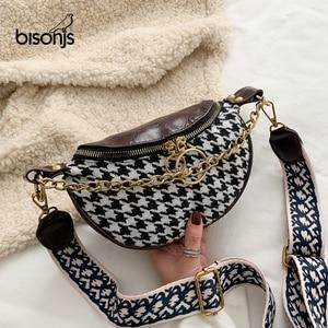 BISONJS 2020 Houndstooth Chestbag PU Waist Bag Women Belt Bag Classic Fashion Drum Bag Travel Purse Phone Pouch Pocket hip bag