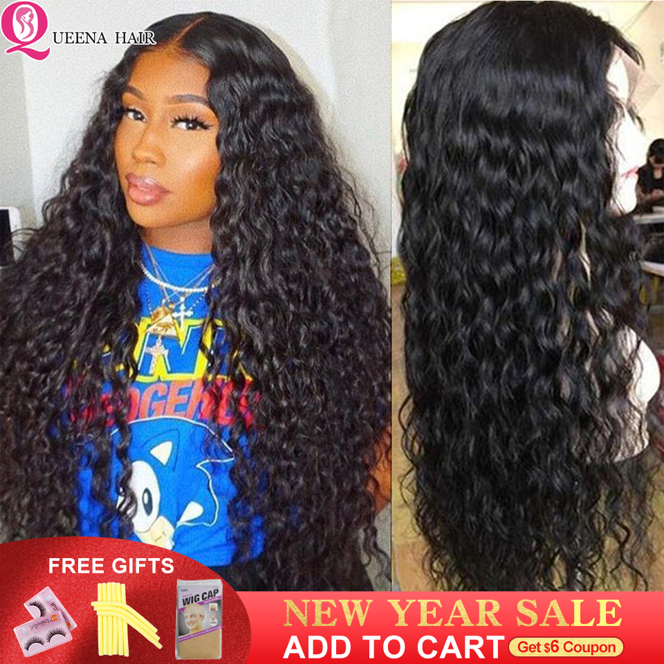 13x4 Brazilian Water Wave Lace Front Human Hair Wigs Transparent Front Lace Wigs Pre Plucked Black Natural Hairline Queena Remy