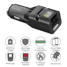2020 SUCHME Lighting Multifunctional All-in-one Vehicle gadget QC 3.0 Vehicle charger Glass Breaker Emergency Warning Light