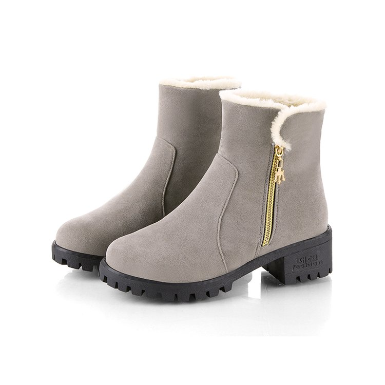 YeddaMavis Boots Gray Side Zipper Warm Snow Boots Winter Boots Womens Shoes New Korean Wild Women Boots Women Shoes Woman Boots in Ankle Boots from Shoes