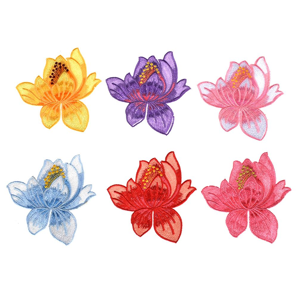 1pc Large New Embroidered Flower rose Applique Iron On Sew On Patch Cloth Lotus