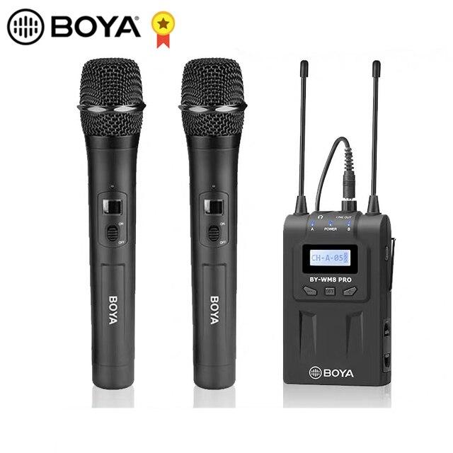 BOYA BY WM8 Pro WHM8 Pro mikrofon pojemnościowy mikrofon bezprzewodowy System Audio rejestrator wideo odbiornik do aparatu Canon Nikon Sony