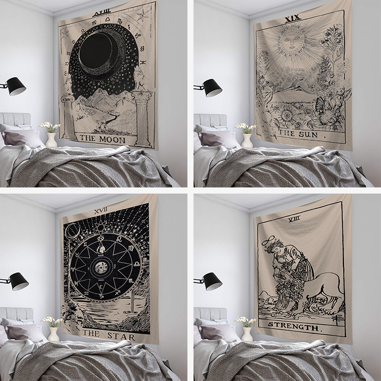 Mandala Tapestry Wall Hanging Witchcraft Hippie Beach Throw Rug Carpet Sun Moon Tapestries Bohemian Home Art