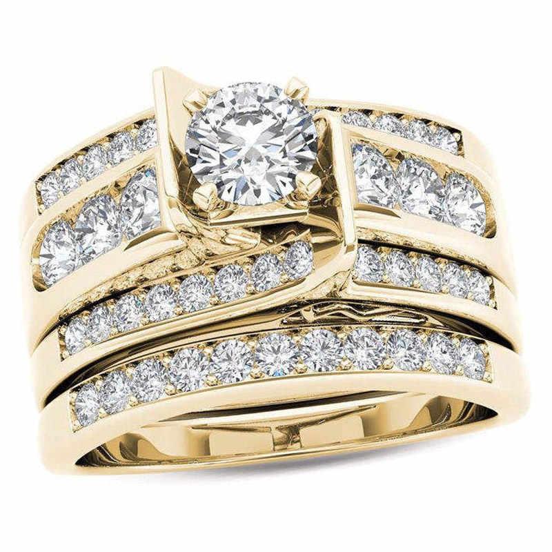 Wukaloかわいい女性ビッグジルコンリングセットクリスタルゴールドカラーブライダルリングウェディングジュエリー約束婚約指輪女性のための