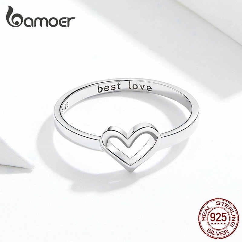 Bamoer Minimalist Simple แหวนหัวใจรักแกะสลักสัญญาหมั้นแหวนเงิน 925 เครื่องประดับ SCR578