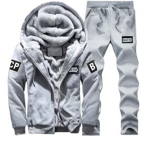 Image 2 - מזדמן גברים אימונית חורף שתי חתיכות סטי צמר עבה סלעית רוכסן מעיל + מכנסיים חם 2 PCS ספורט חליפת Sportswears m 4XL