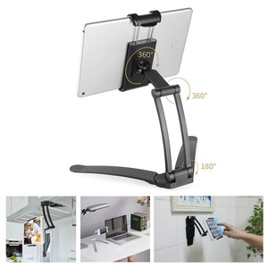 Wall Hanging Tablet Stand Desktop Kitchen Use Multi-function Bracket Aluminum Alloy 3M Tablet Holder Mount For Ipad Iphone(China)