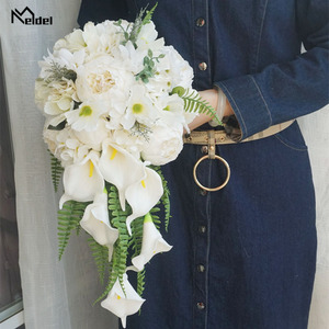 Image 5 - Meldel Bride Waterfall Wedding Bouquet Artificial Vintage Peony Hydrangea Flower Calla Lily Marriage Supplies Luxurious Bouquets