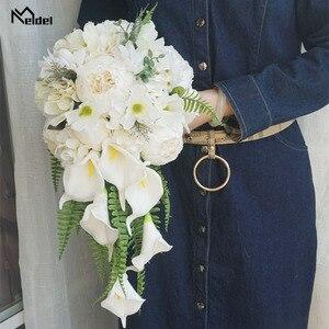 Image 5 - Meldel הכלה מפל חתונה זר מלאכותי בציר אדמונית הידראנגאה פרח כלה לילי אספקת נישואים לוקסוס זרי