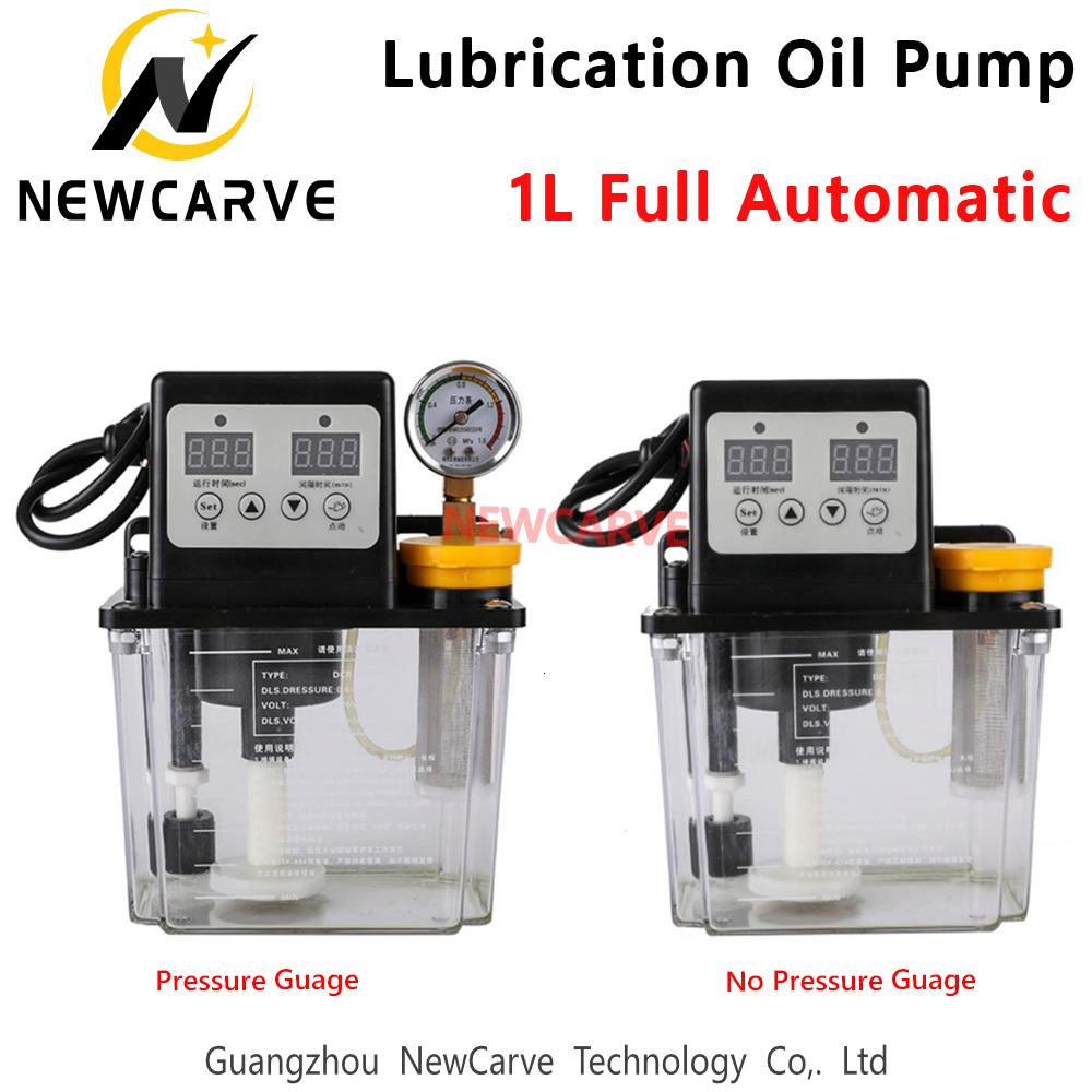 Fully Automatic Lubricating Oil Pump 1L Liters With Pressure Gauge Cnc Electromagnetic Lubrication Pump 220V NEWCARVE