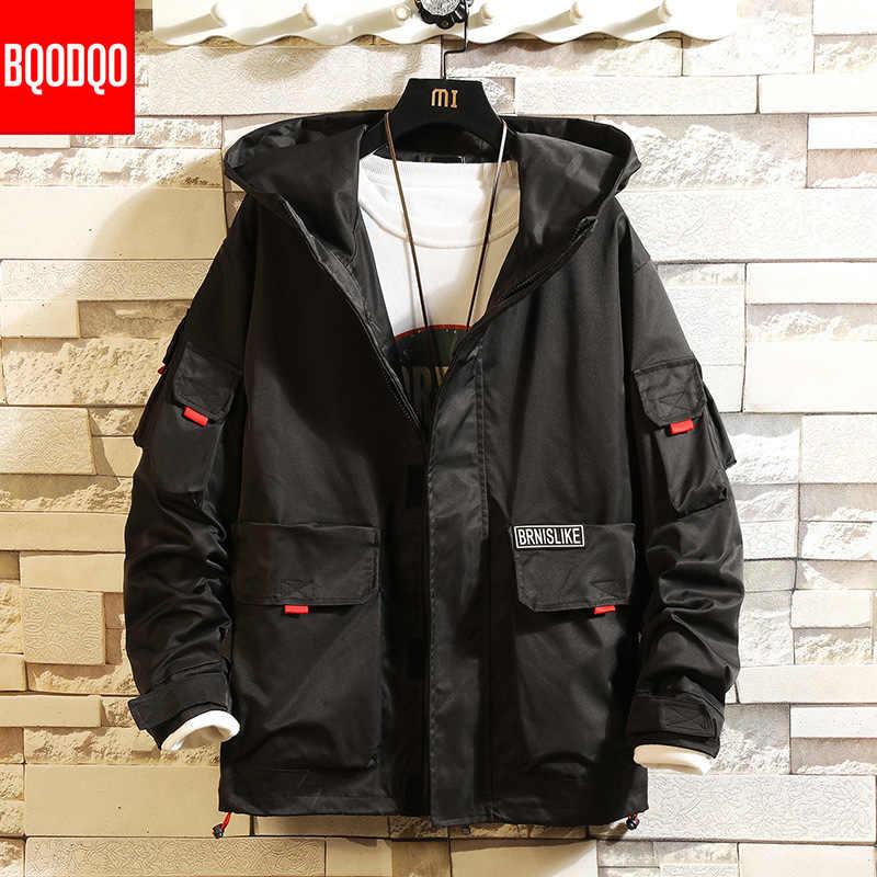 5XL שחור מפציץ מעיל מזדמן עבור גברים מכללת יפני היפ הופ סלעית מעילי סתיו גברים של צבא צבאי Streetwear מטען מעילים