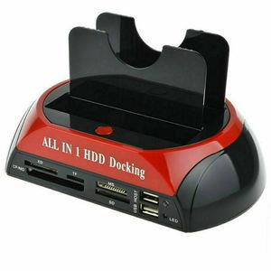 Image 2 - Estación de acoplamiento todo en uno de doble bahía, 2,5 pulgadas, 3,5 pulgadas, HDD, SATA, USB 2,0 a IDE, SATA, disco duro, base de clonación OTB con lector de tarjetas