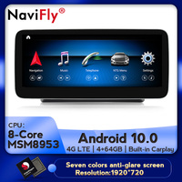 NaviFly 12.5 IPS Screen 8 core Android 10 Car GPS Navigation player For benz C Class W205/GLC Class X253/V Class W446 2015 2018