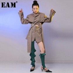 Женская куртка EAM JH007, Весенняя Свободная куртка с отворотом и длинным рукавом, с пряжкой на талии