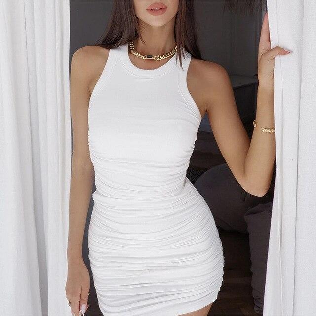 Hirigin Cotton Ruched Drawstring Sexy Dresses Women Sleeveless Elastic Mini Dress Vintage Bodycon Club Wear 2021 Casual Vestidos 3