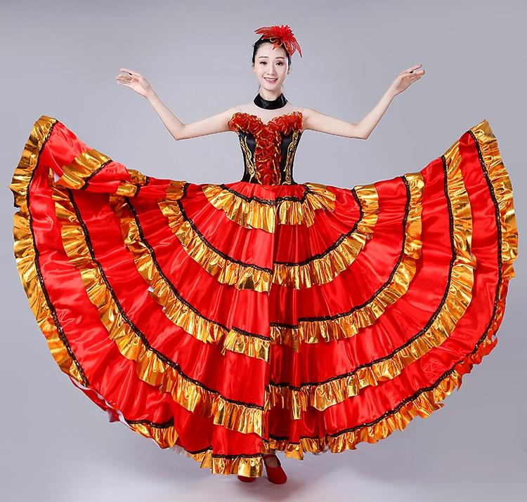 Бренд горячая распродажа 2019 новые дамы открытие танец большие качели юбка испанский бой быков танец представление одежда