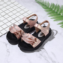 2019 New Crystal Sandals Girls Shiny Summer Shoes Children Beach for Princess Kids Flats Size 26-37