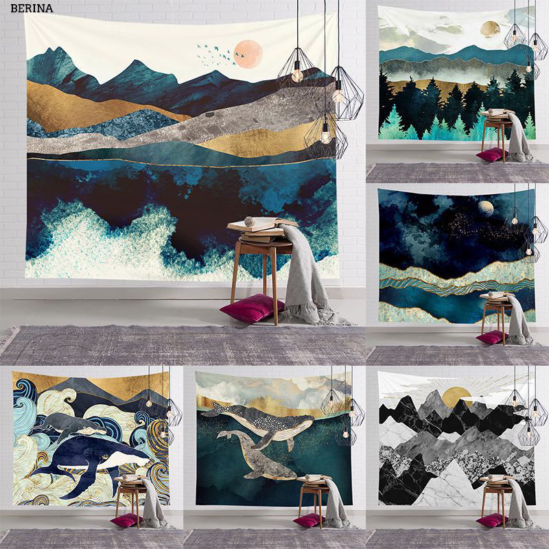 Tree Scenery Tapestry Wall Hanging Polyester Japanese Style Hippie Tapestries Decoration Wall Covering Moon Sunrise Painting