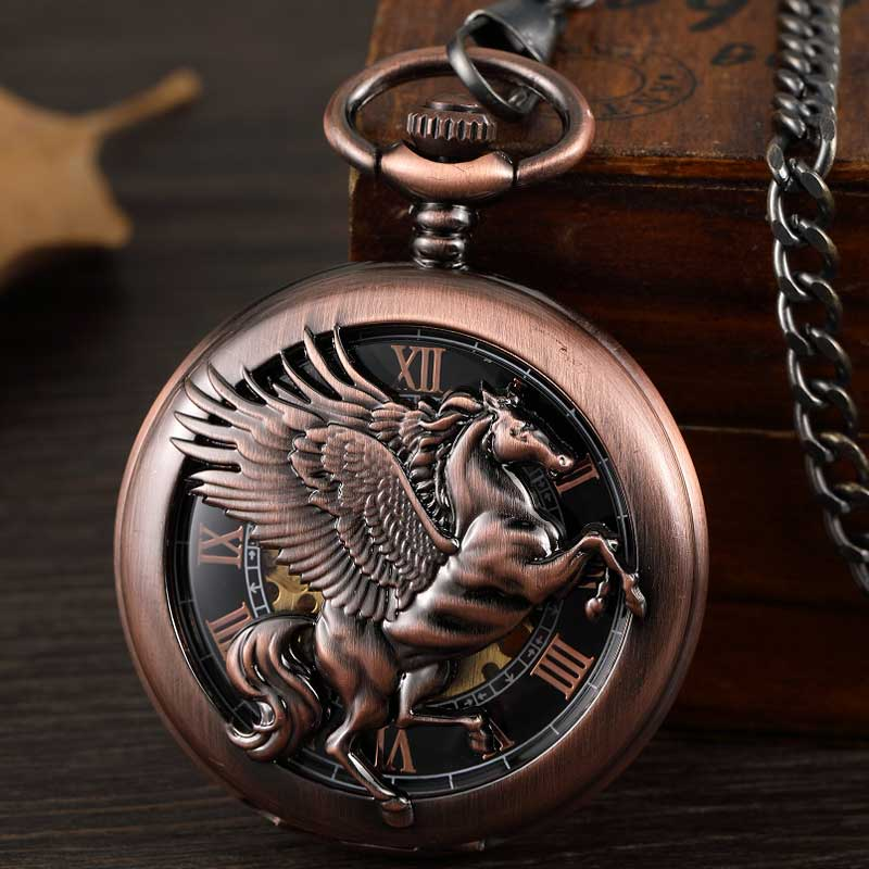 Vintage Fantasy Pegasus Horse Mechanical Pocket Watch Chains Bronze Hollow Steampunk Skeleton Fob Watches For Men Gifts Reloj
