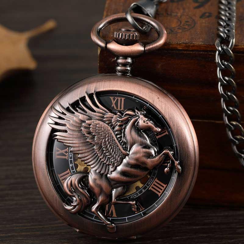 Relógio de Bolso Relógios para Homens Vintage Fantasia Pegasus Cavalo Mecânico Correntes Bronze Oco Steampunk Esqueleto Fob Presentes Reloj