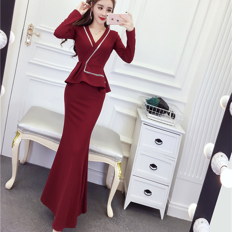 Autumn Simple Fashion New Style Sweet WOMEN'S Dress Joint Contrast Color V-neck Debutante Formal Dress Long Skirts Sheath Dress
