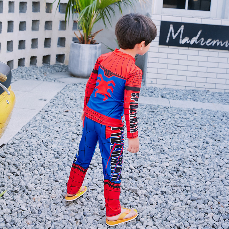 New Style Children Split Type Boy Bathing Suit Baby Small CHILDREN'S Long Sleeve Sun-resistant Quick-Dry Cartoon Spider-Man Hot